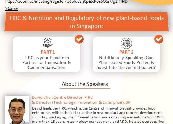 [Webinar] FIRC & Nutrition and Regulatory of new plant-based foods in Singapore - SIFST Webinar